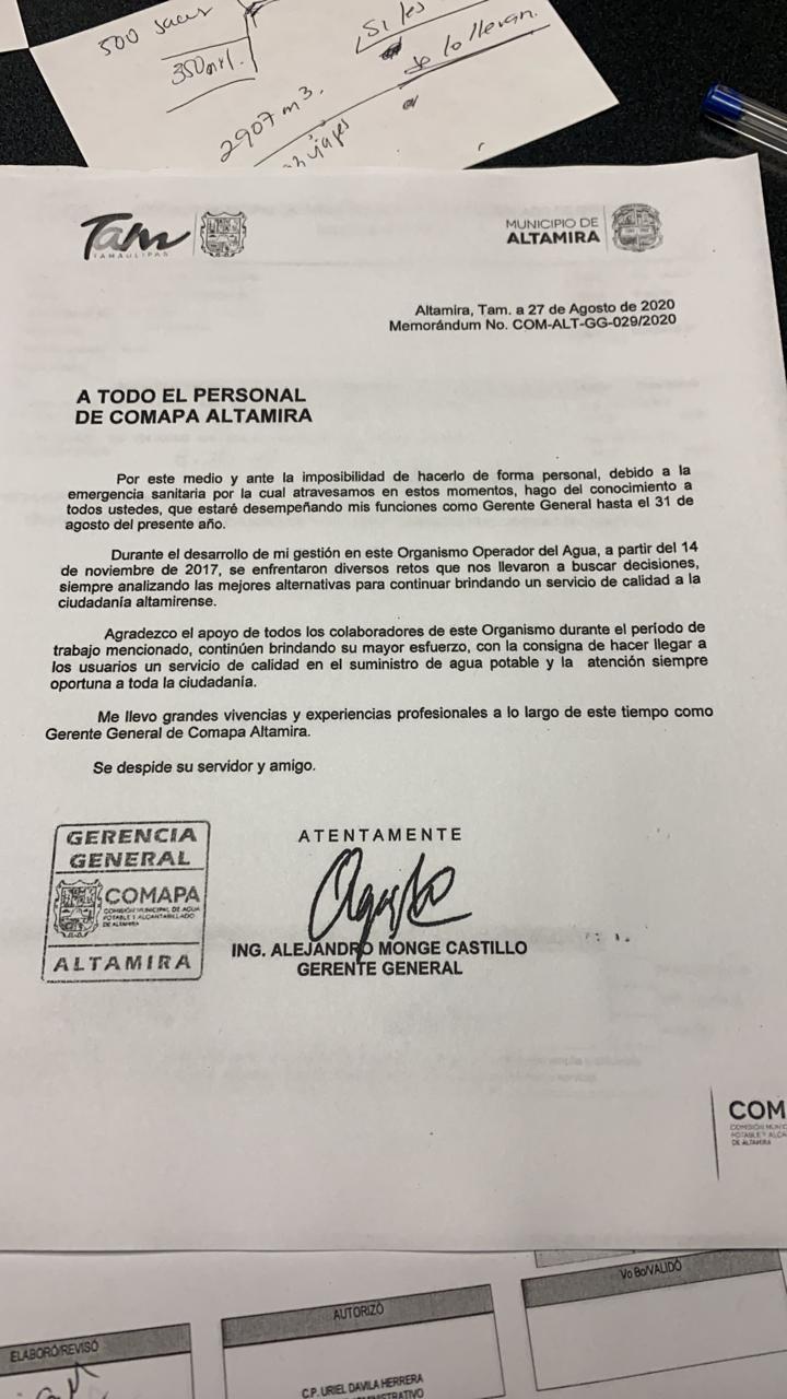 Deja Alejandro Monge Castillo la gerencia de COMAPA Altamira