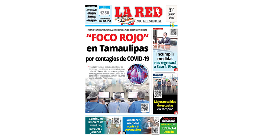 """""""FOCO ROJO"""" en Tamaulipas por contagios de COVID-19"""