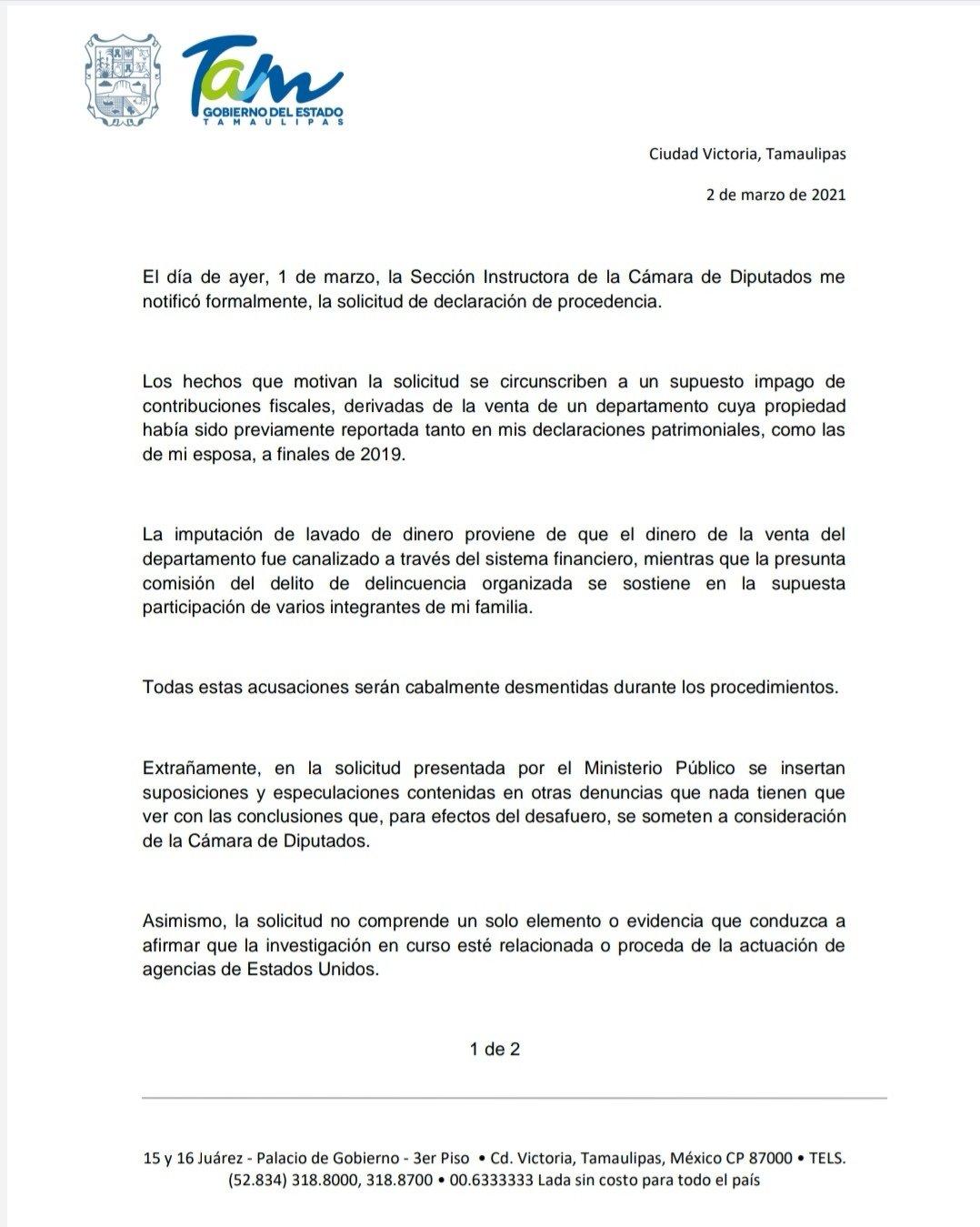 GOBERNADOR DE TAMAULIPAS DA SU POSTURA A SEÑALAMIENTOS PARA DESAFUERO