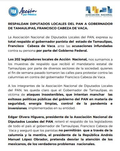 RESPALDAN DIPUTADOS LOCALES DEL PAN A GOBERNADOR DE TAMAULIPAS, FRANCISCO CABEZA DE VACA.