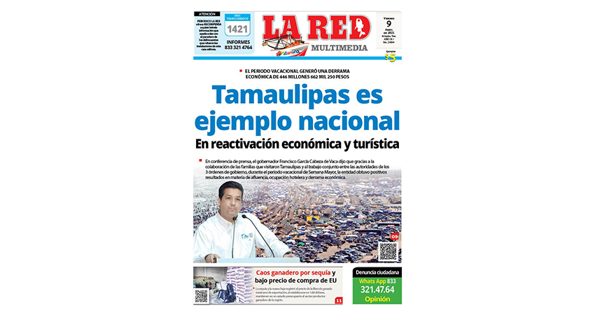 Tamaulipas es ejemplo nacional en reactivación económica e impulso al turismo