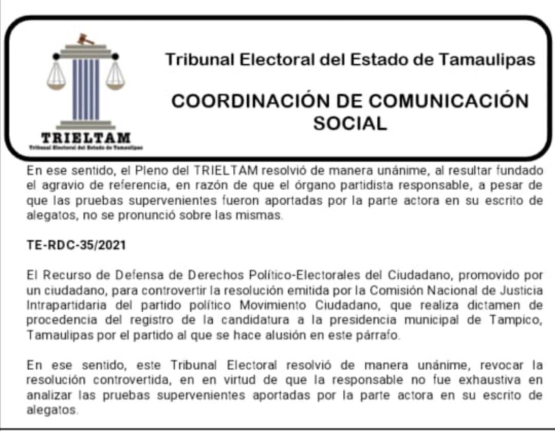 Se caen candidaturas de Movimiento Ciudadano en el sur de Tamaulipas