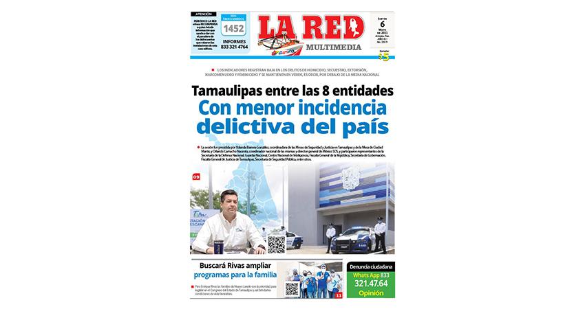 Tamaulipas entre las 8 entidades con menor incidencia delictiva del país