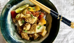 Dairy-Free Chicken Curry in a bowl with chopsticks