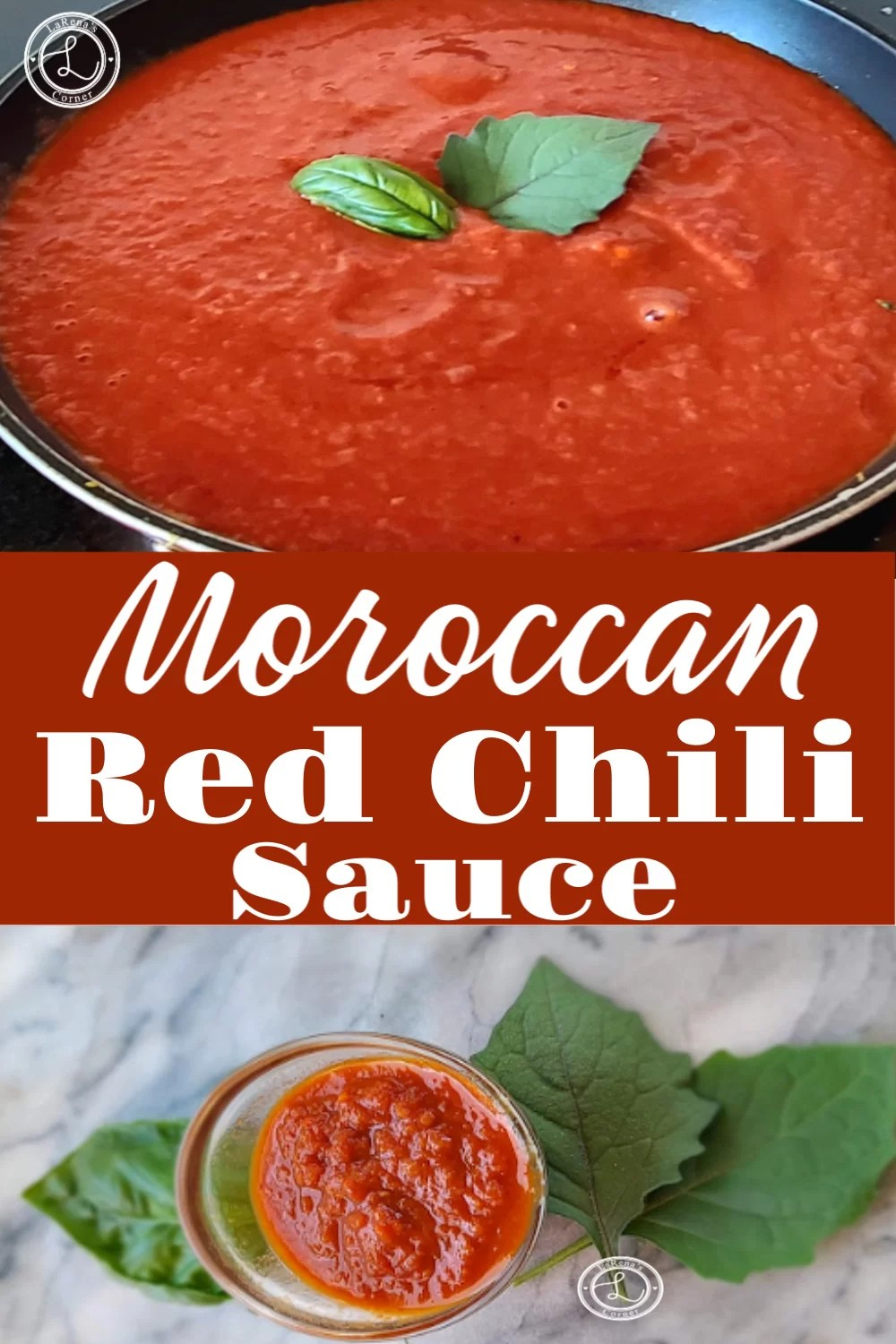 2 pictures. One of the Moroccan Red Chili Sauce in a pan. One picture of the sauce in a bowl.