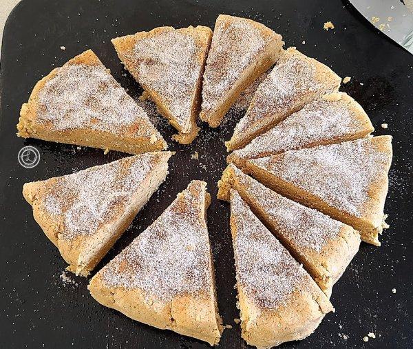 Cut and spaced gluten-free cinnamon pumpkin scones