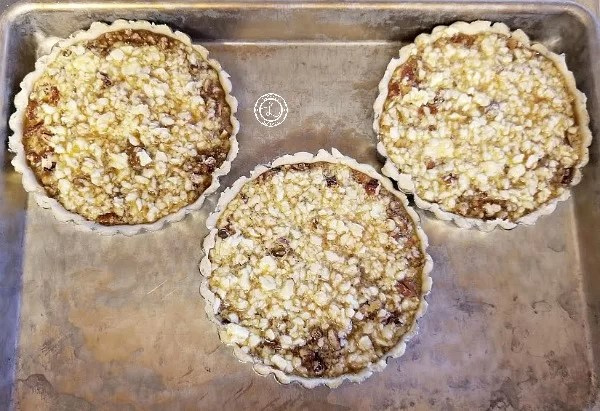 Maple Pecan Tart Filling ready to go in the oven