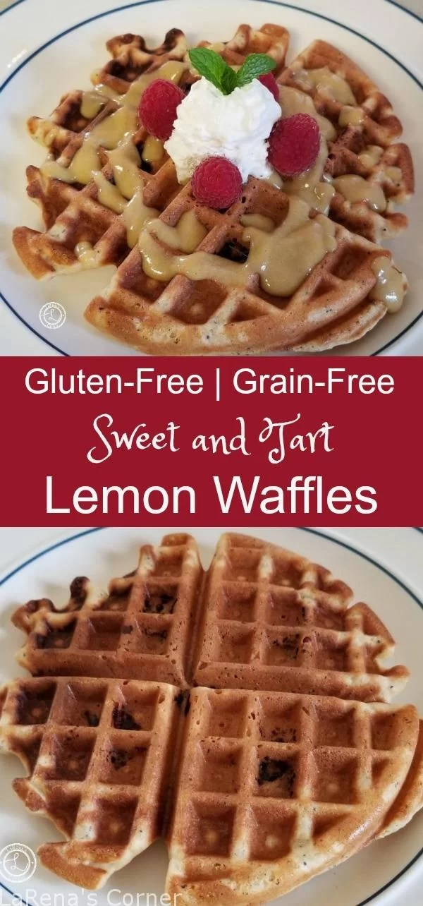 Gluten-Free Lemon Waffles with Lemon Curd Syrup and without