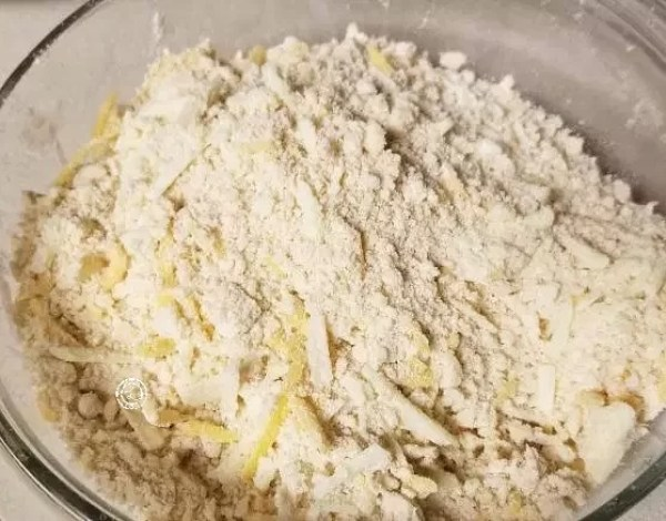 Dry ingredients with cheese
