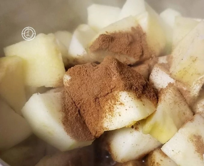 Chopped and Peeled Apples with seasonings.