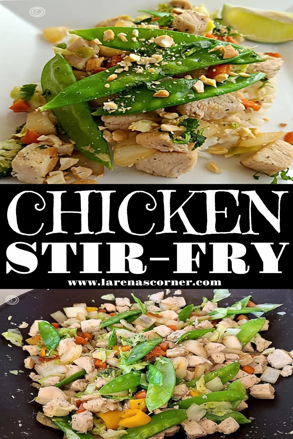 Two pictures of Chicken Stir-Fry. One of it cooking in the wok.