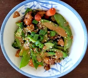 Chicken Stir-Fry with black sesame oil and fresh ginger, with fresh vegetables of your choice with lite sesame, garlic, and ginger sweet and salty flavor