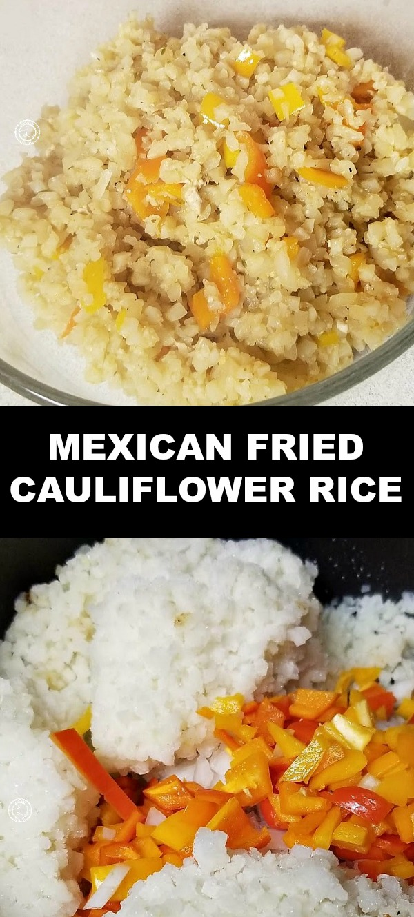 Mexican Fried Cauliflower rice full of taco flavoring with bell peppers, and fried onions. Goes well as a side dish for any Mexican flavored recipes or meal