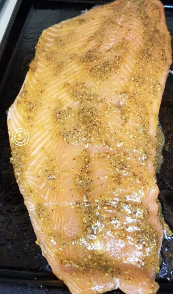 Mustard Glazed Salmon with a stone ground mustard, coconut aminos, and Yacon Syrup which when combined creates a decadent sweet and slightly spicy glaze.