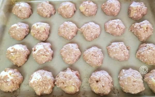 Meatballs on a baking dish