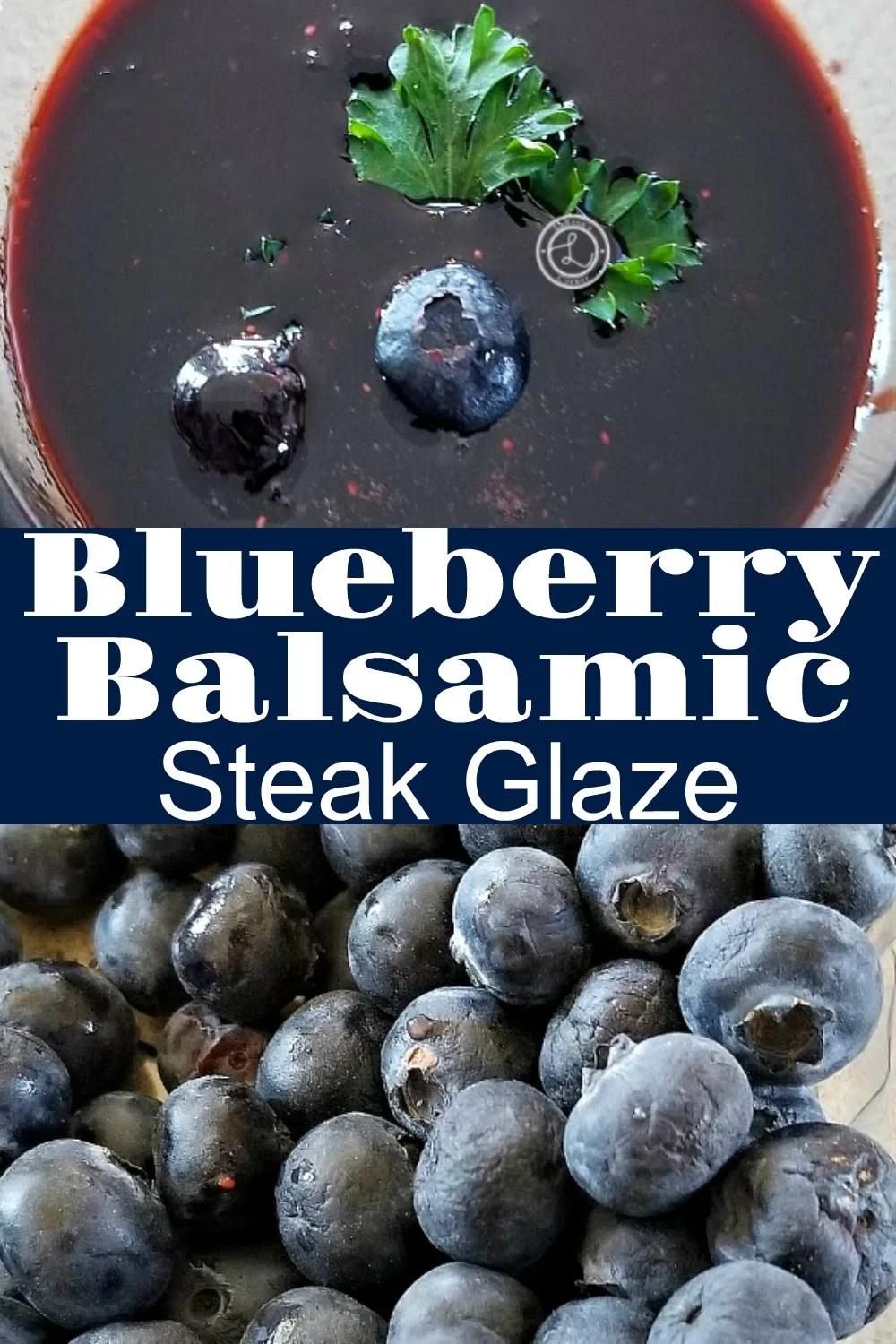 Two pictures. One of blueberries and one of the glaze decorated with a piece of parsley and two blueberries