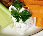Dairy-Free Ranch dip with celery and carrots