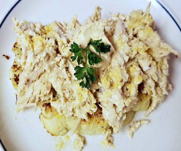 Gluten-Free Yacon Mustard Chicken over Roasted Cauliflower