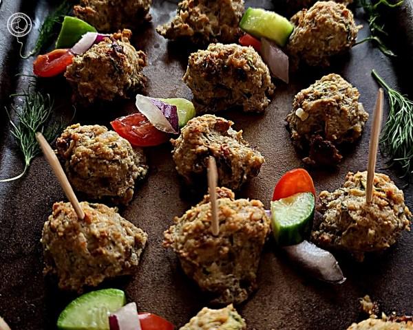 Gluten-Free Greek Turkey Meatballs on a platter