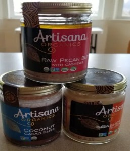 3 Jars. Pecan Butter, Coconut Cacao Bliss, Pecan Butter