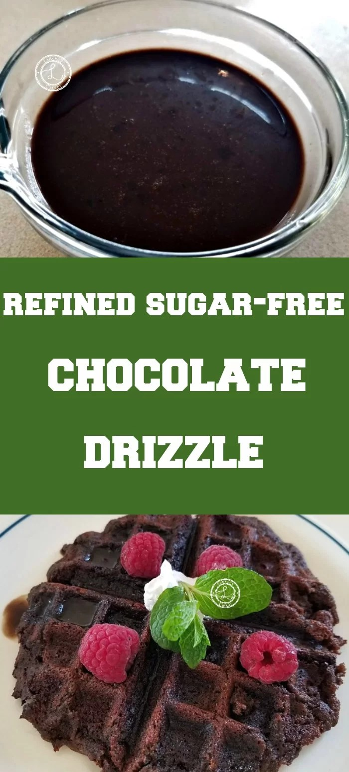 Collage: Top: Refined Sugar-Free Chocolate Syrup. Bottom: Gluten-Free Vegan Chocolate Waffle with Refined Sugar-Free Chocolate Drizzle
