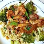 Cooked Shrimp over gluten-free pasta
