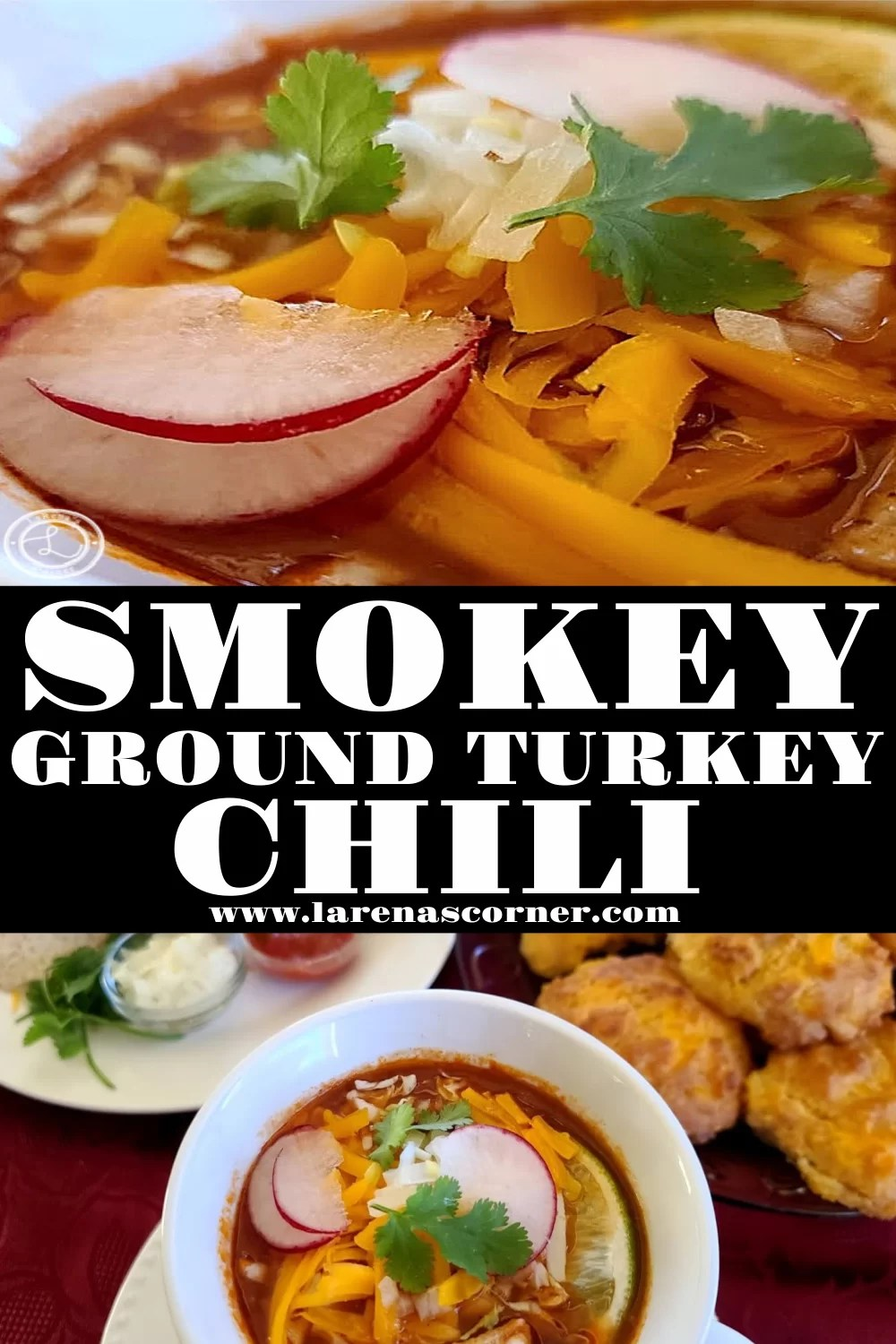 Two Pictures of the Smokey Ground Turkey Chili