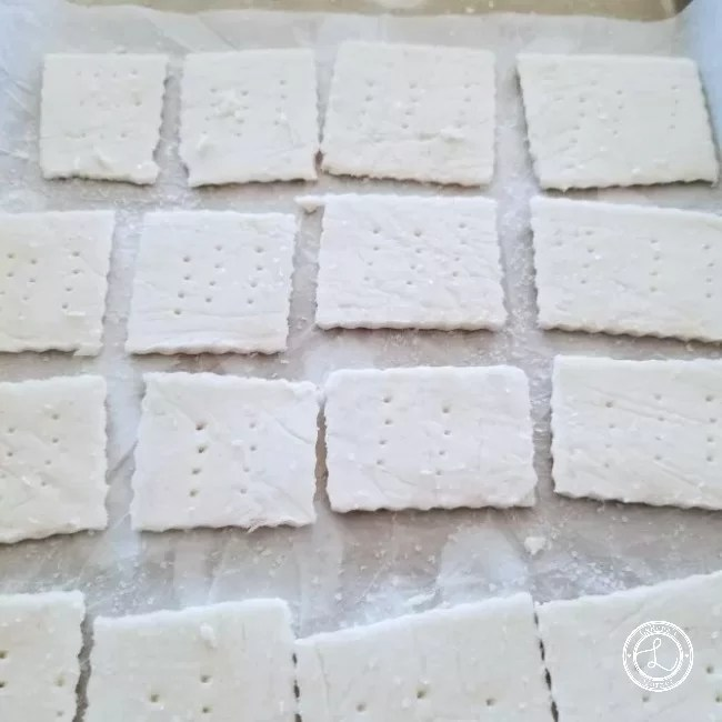 Cut crackers ready to be placed on a tray and baked