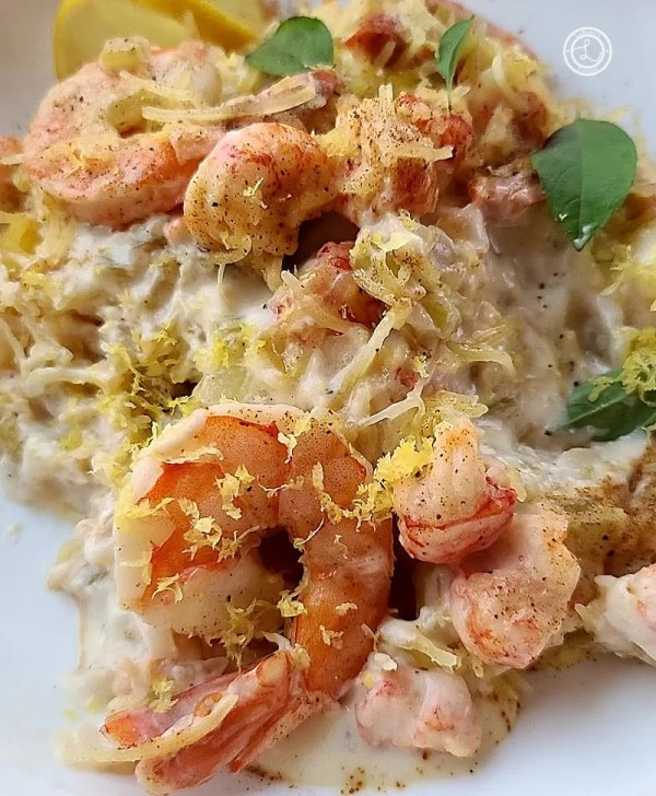 Gluten-Free Creamy Seafood Alfredo Recipe with a shrimp and langostino