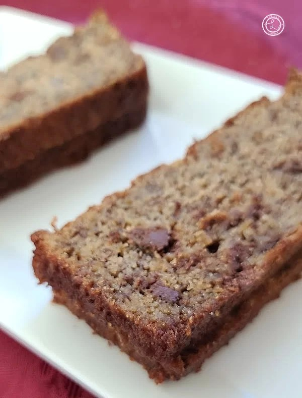 Slices of banana bread on a white tray