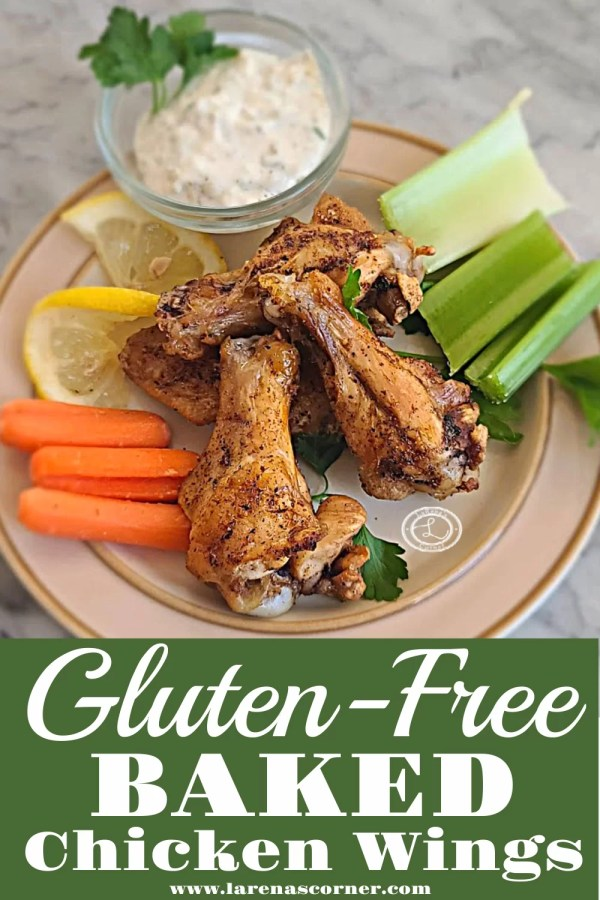 Gluten-Free Baked Chicken Wings 4 wings on a plate with carrots, celery, and homemade dairy-free Ranch