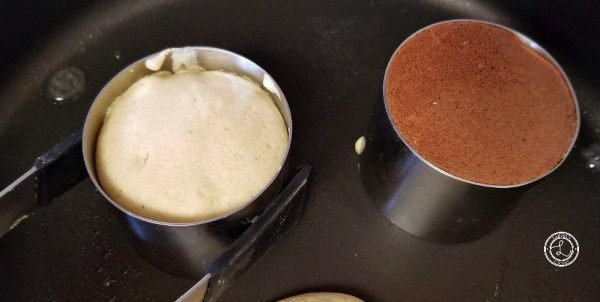 Flip the pancakes with tongs or two spatulas