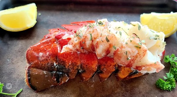 Lobster tail on its side
