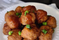 A plate of meatballs on a plate