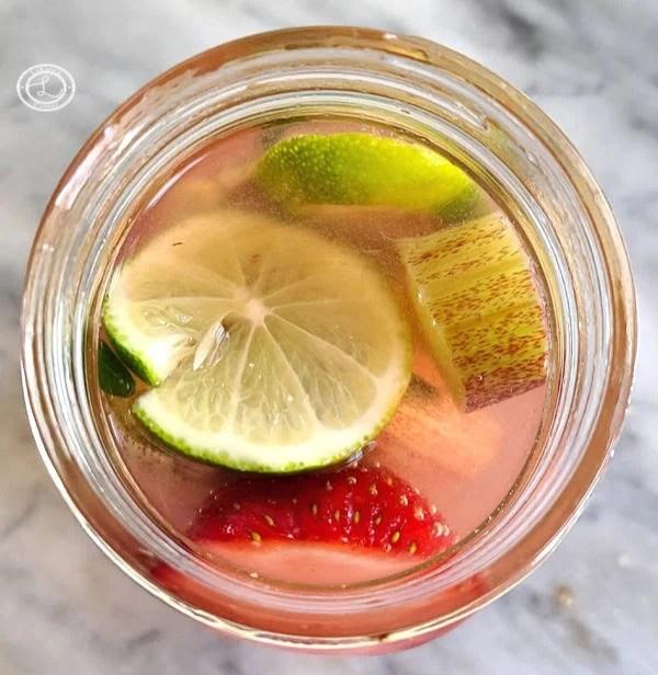 Fruit inside canning jar.