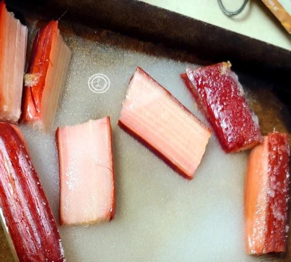 Rhubarb, sugar, and water