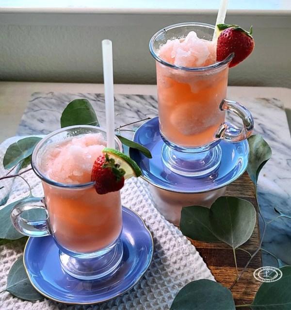 Strawberry Rhubarb Slush in clear glasses