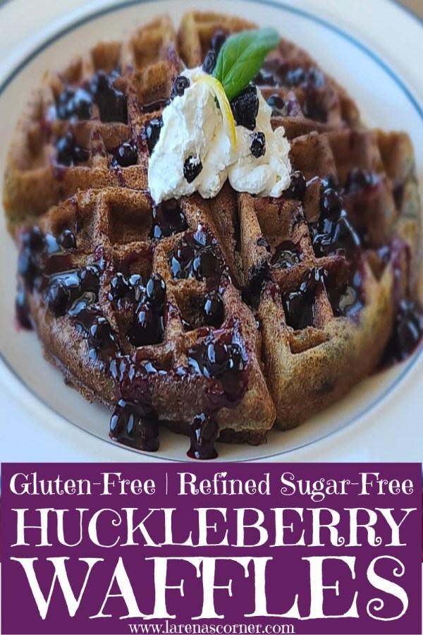 Closeup of a Gluten-Free Huckleberry Waffles with Huckleberry Sauce
