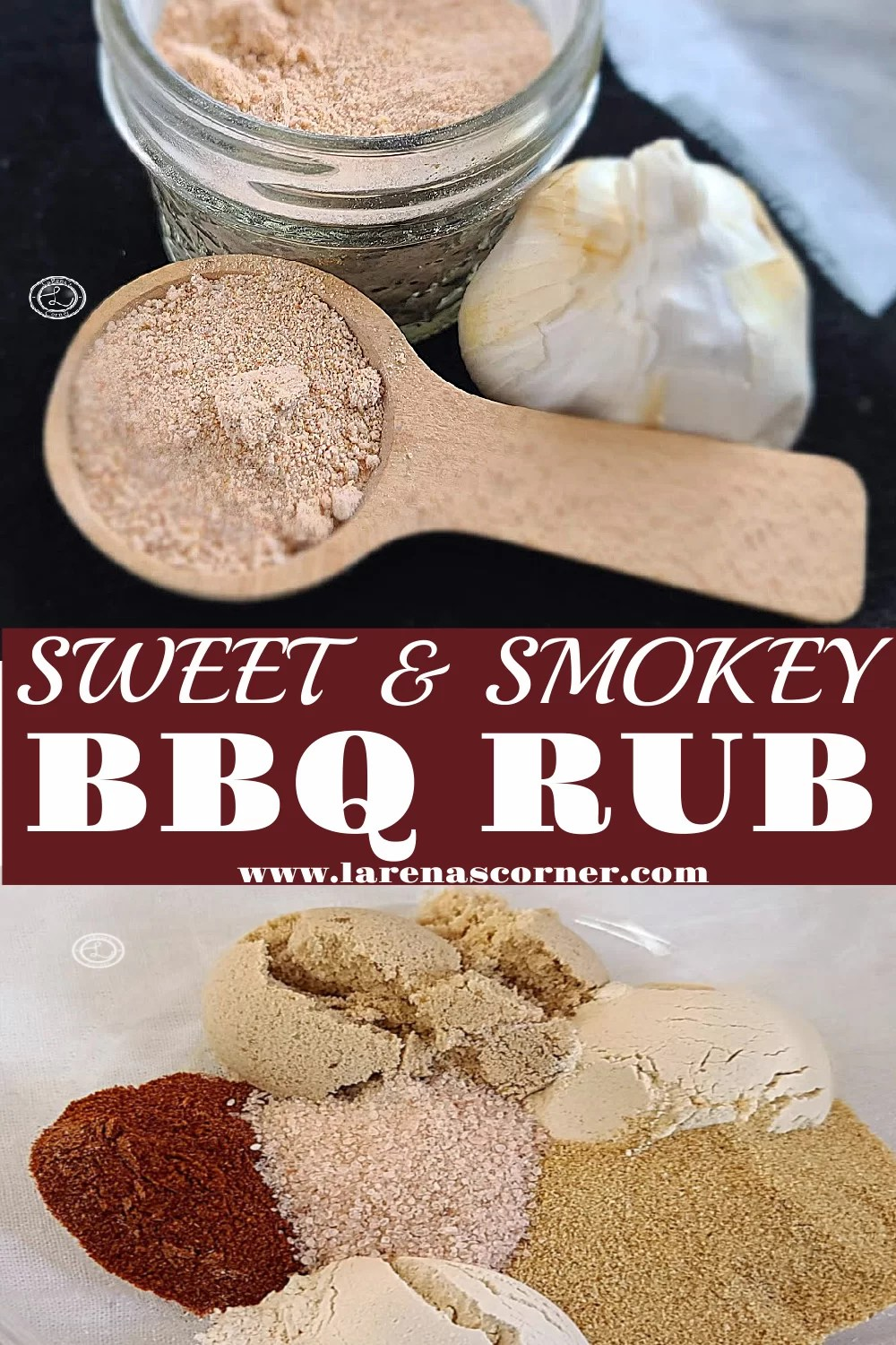Sweet Smokey BBQ Rub: 2 Pictures. One of all the spices in a bowl. One of all the spices combined in a jar and on a spoon with a bulb of garlic to decorate.