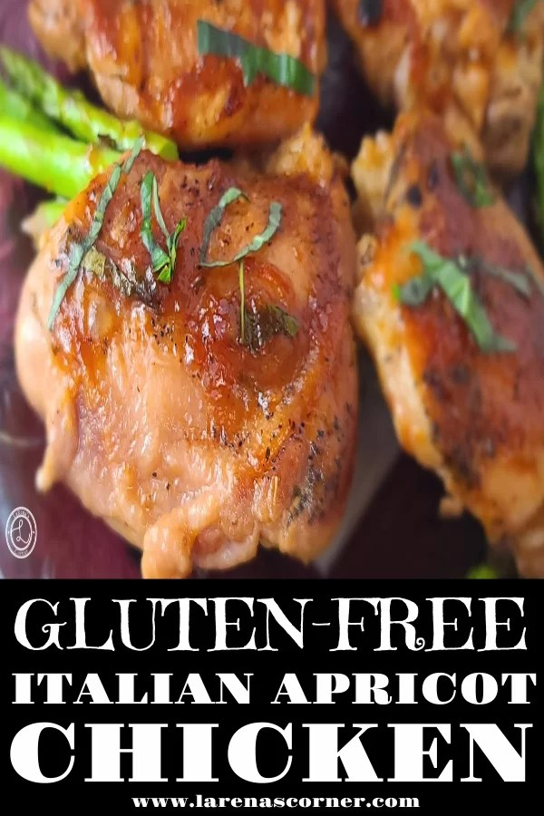 Gluten-Free Apricot Chicken with asparagus and basil on a plate