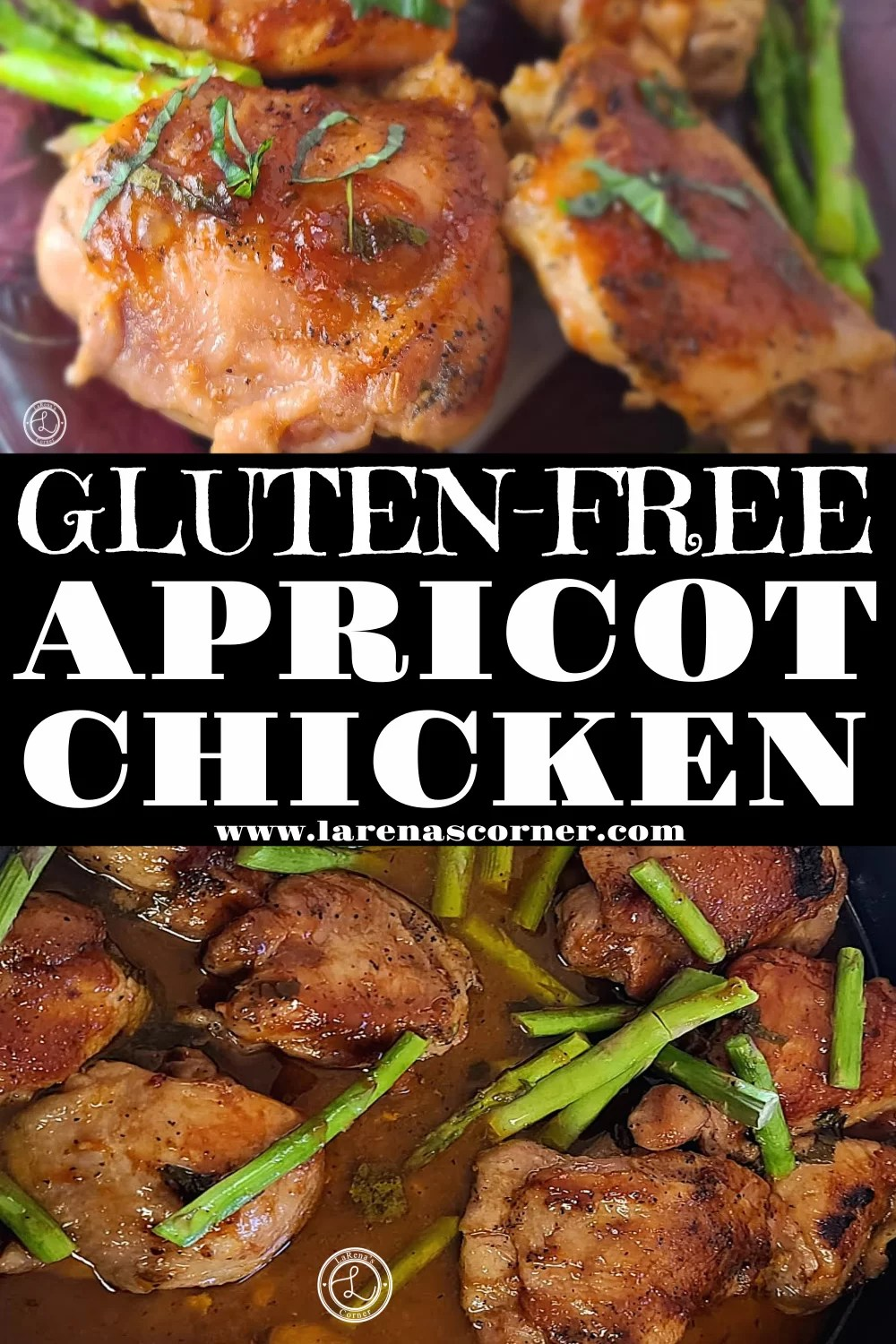 Gluten-Free Apricot Chicken with two pictures