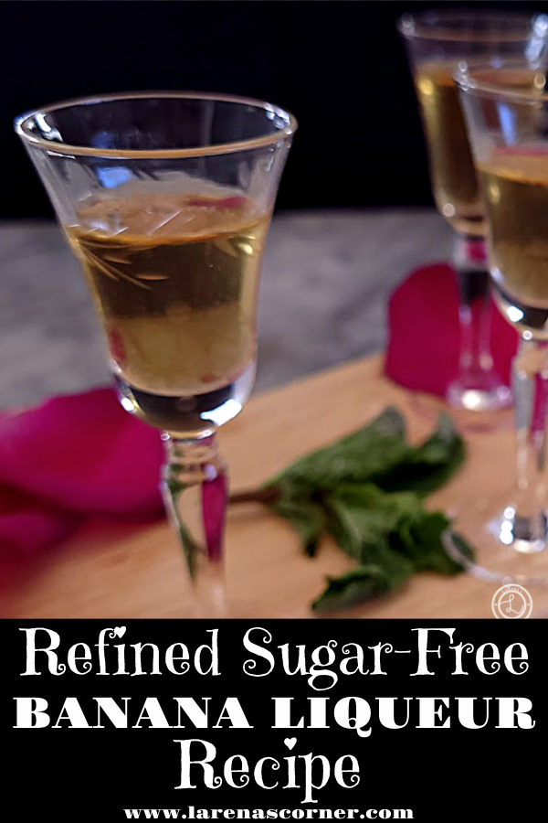 Refined Sugar-Free Banana Liqueur in antique glasses