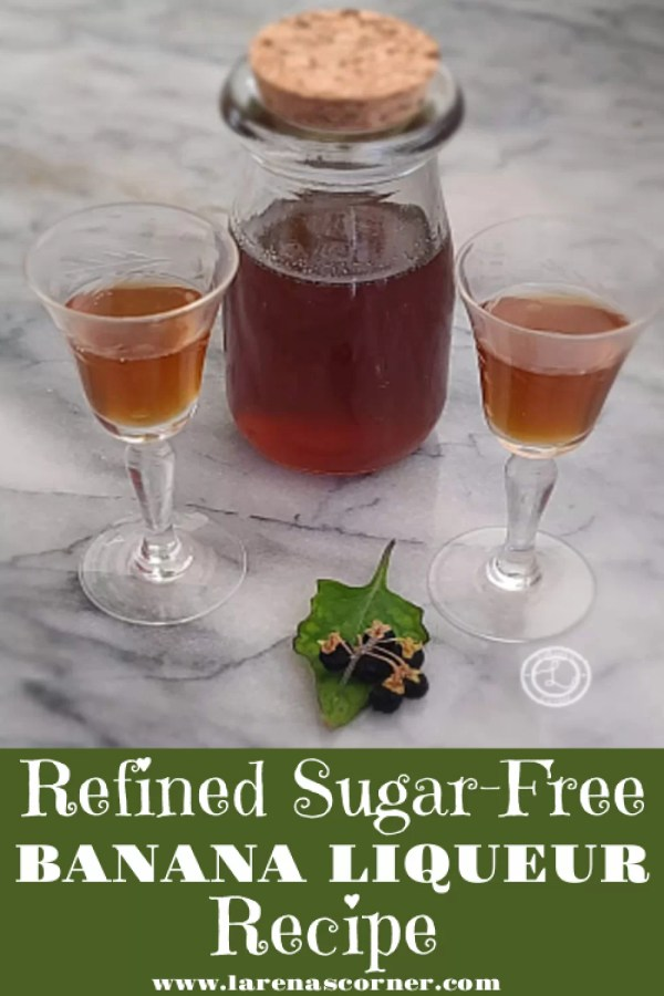 A small bottle and two glasses of Refined Sugar-Free Banana Liqueur