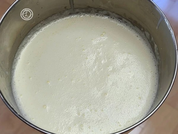 Gelatin egg and milk mix