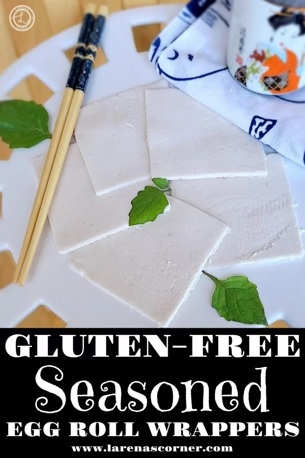 Gluten-Free Egg Roll Wrappers that are seasoned and on a white plate