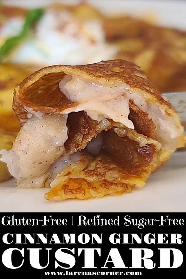 Gluten-Free Cinnamon Ginger Custard inside a pumpkin crepe on a plate