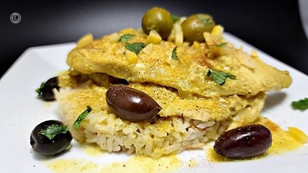 Gluten-Free Chicken Tagine on a white plate