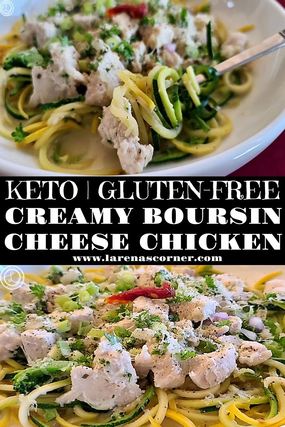Creamy Boursin Cheese Chicken. Two Pictures. One picture of a bite on a fork. One picture of a close up inside the bowl.