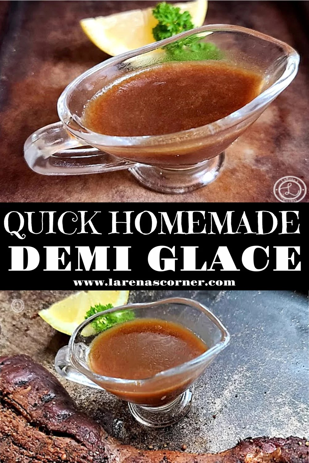 Two pictures of Demi Glace in a pitcher. One with Elk Tenderloin