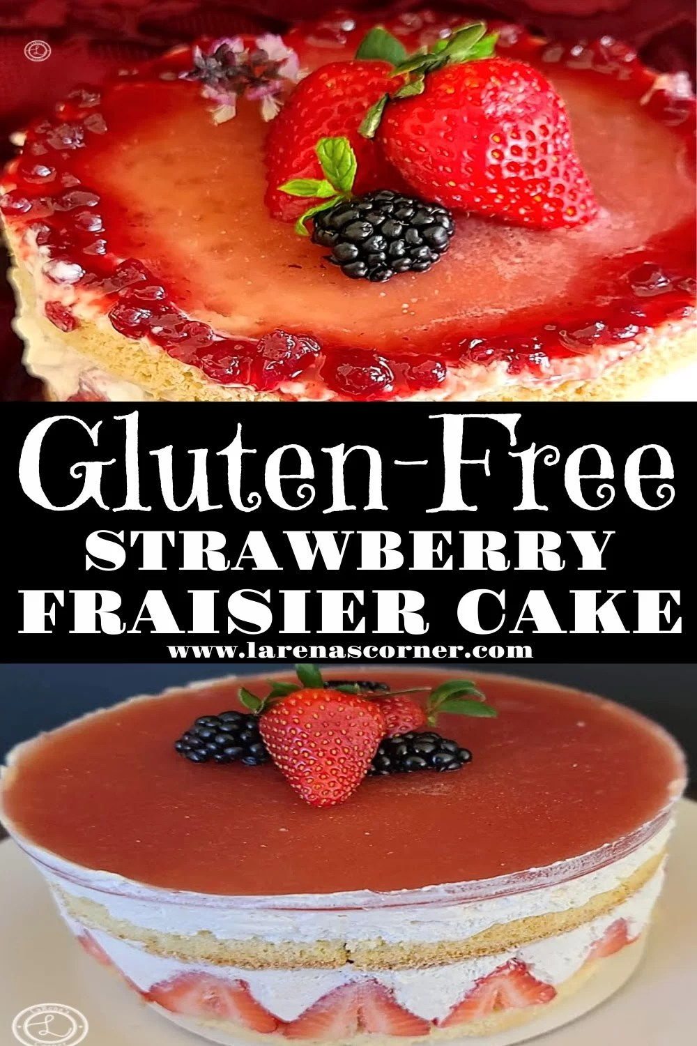Two pictures of Gluten-Free Strawberry Fraisier Cake. One close- up of the top. One of a side view of the cake.